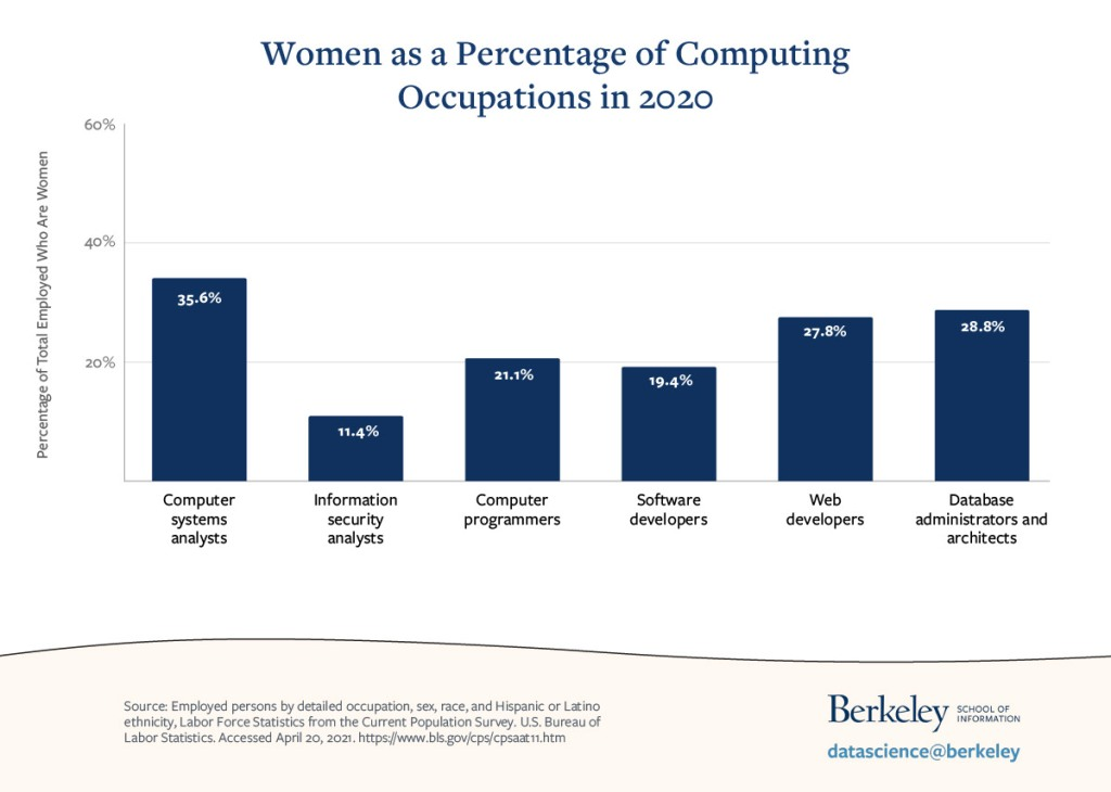 bar chart of percentage of employed computer science professionals who are female, by career